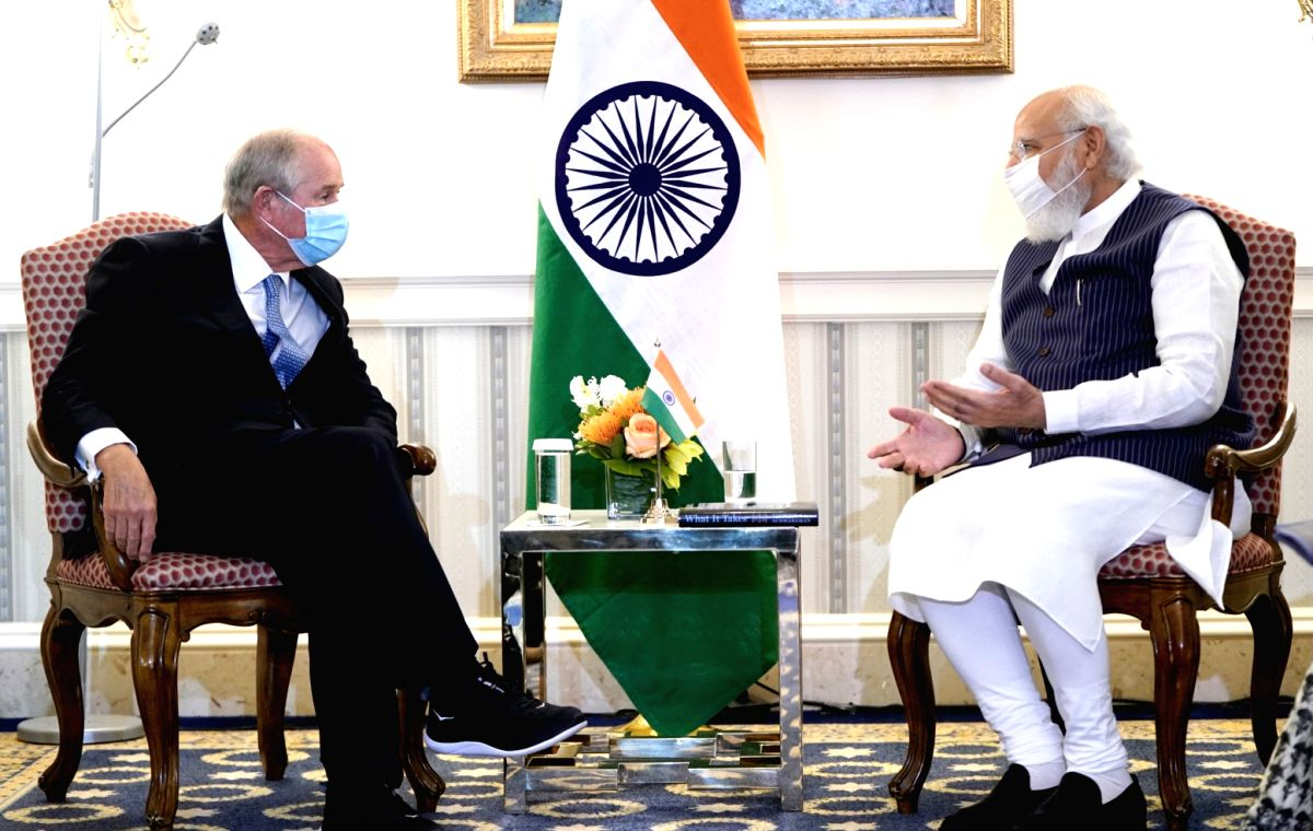 New Delhi: The Prime Minister, Shri Narendra Modi meeting the Chairman, CEO and Co-Founder, Blackstone, Mr. Stephen A. Schwarzman, in Washington DC on September 23, 2021. (Photo: IANS/PIB)