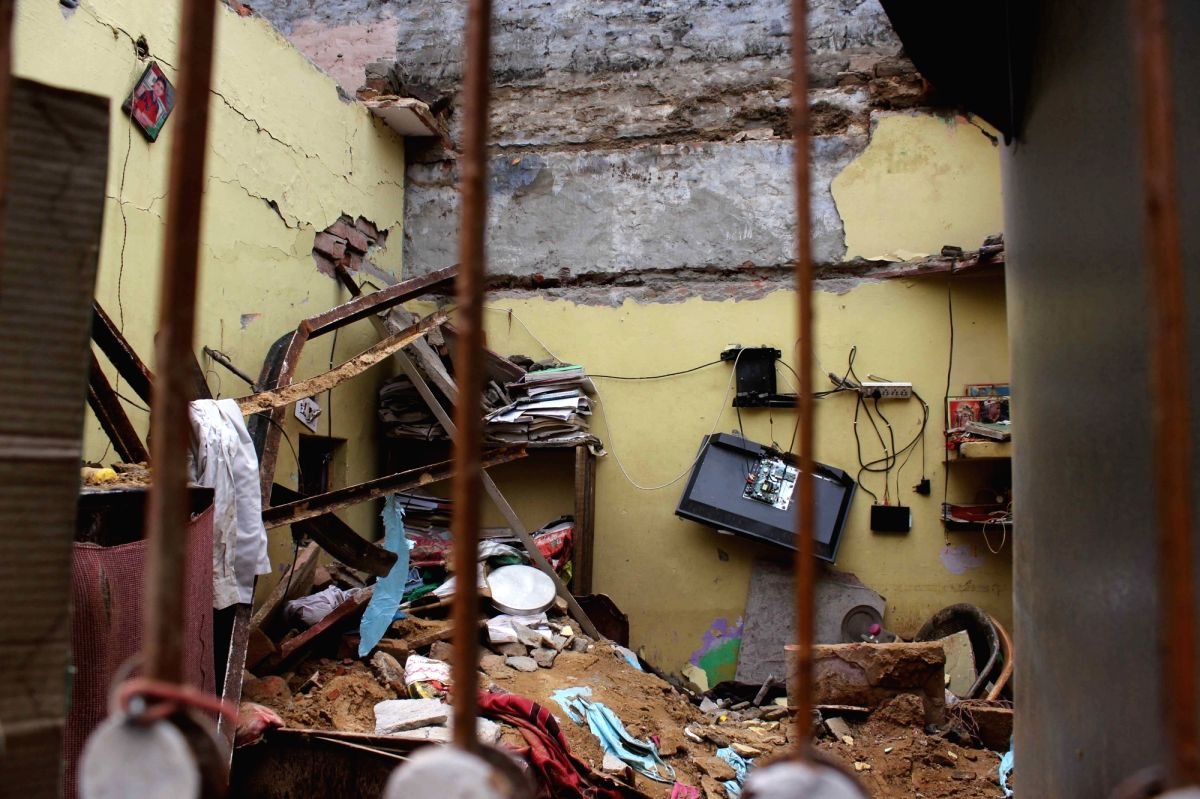 :New Delhi: The site where the roof of a house collapsed at Dwarka's Hari Vihar area in New Delhi on July 23, 2018. Two members of a family were killed and three others were injured in the ...
