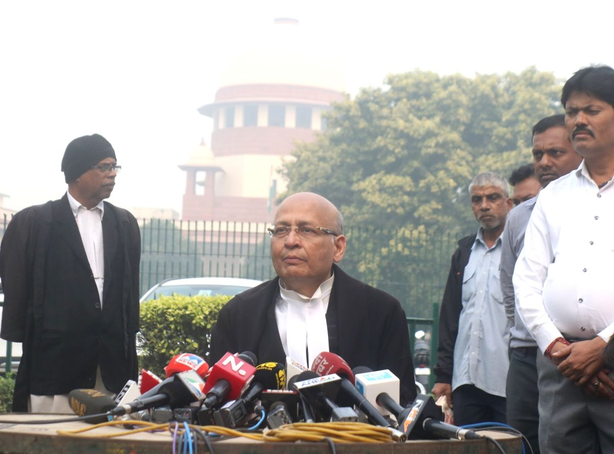 New Delhi: Travancore Devaswom Board counsel Abhishek Manu Singhvi talks to the media persons after the Supreme Court's Sabarimala verdict, in New Delhi on Nov 14, 2019. The Supreme Court in a 3:2 verdict referred the issue of entry of women into Sab