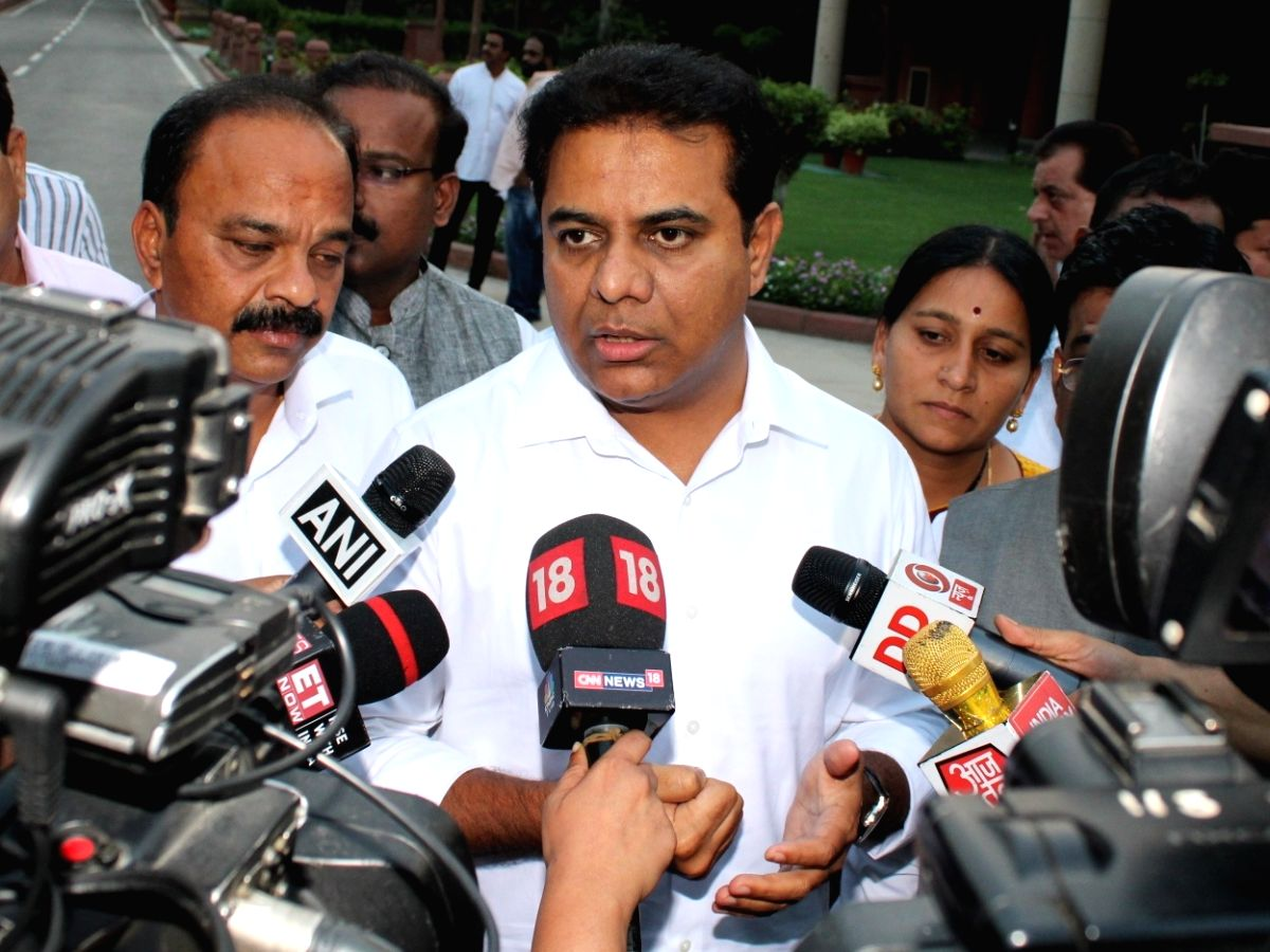 New Delhi: TRS Working President K.T. Rama Rao talks to the media as he arrives to attend an all-party meeting chaired by Prime Minister Narendra Modi, at Parliament in New Delhi on June 19, 2019. The meeting was called by PM Modi to discuss his 'one