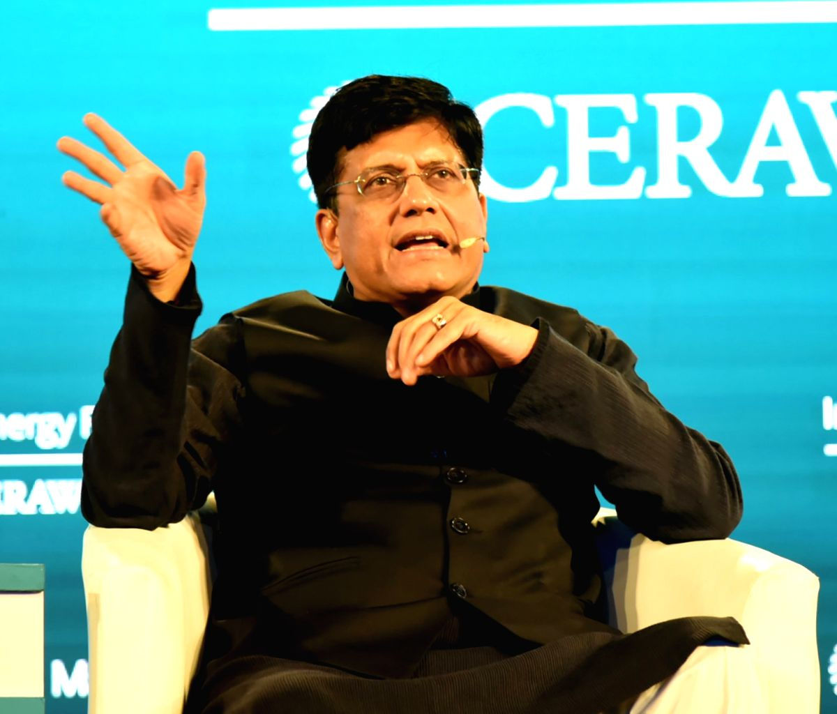 New Delhi: Union Commerce and Industry Minister Piyush Goyal addresses at the third India Energy Forum, in New Delhi on Oct 15, 2019. (Photo: IANS/PIB)