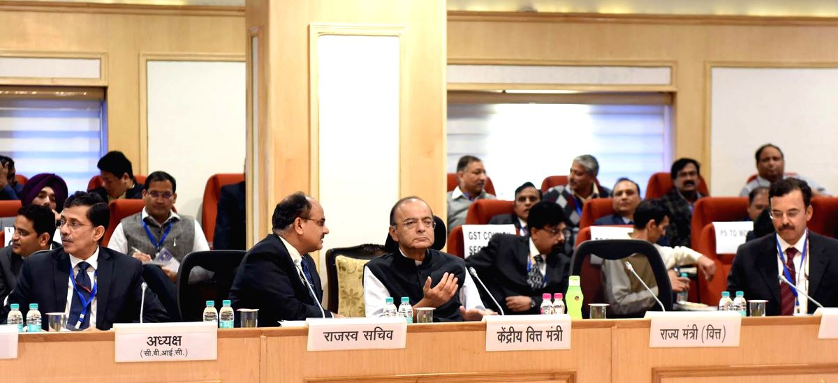 New Delhi: Union Finance and Corporate Affairs Minister Arun Jaitley chairs the 33rd GST Council meeting, in New Delhi, on Feb 24, 2019. (Photo: IANS/PIB)