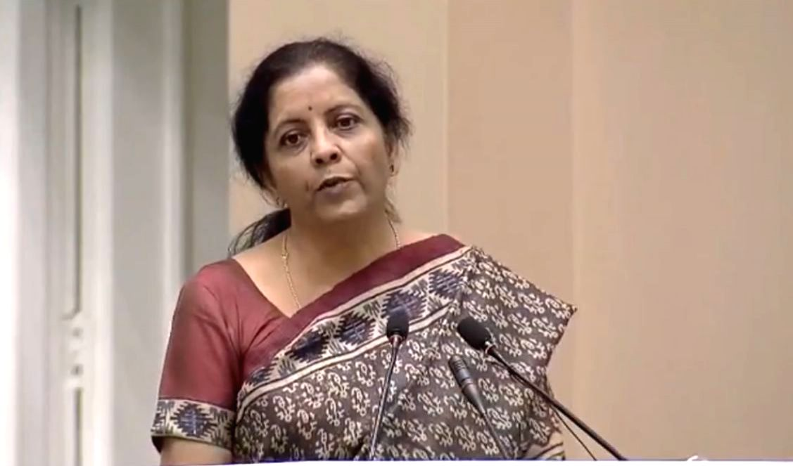 New Delhi: Union Finance and Corporate Affairs Minister Nirmala Sitharaman addresses at National Corporate Social Responsibility Awards in New Delhi on Oct 29, 2019. (Photo: IANS/PIB)