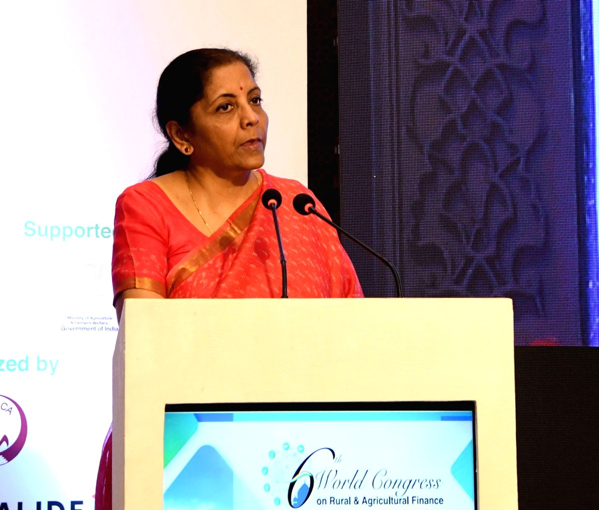New Delhi: Union Finance and Corporate Affairs Minister Nirmala Sitharaman addresses at the inauguration of the 6th World Congress on Rural and Agricultural Finance jointly organised by the National Bank for Agriculture and Rural Development (NABARD)