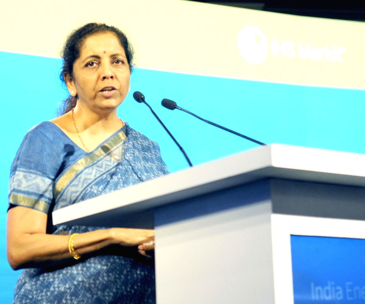 New Delhi: Union Finance and Corporate Affairs Minister Nirmala Sitharaman addresses at the 3rd India Energy Forum, in New Delhi on October 14, 2019. (Photo: IANS/PIB)