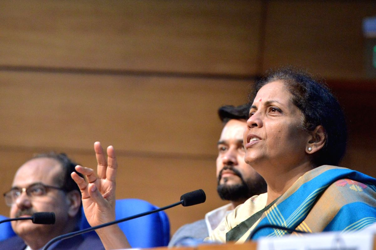 New Delhi: Union Finance and Corporate Affairs Minister Nirmala Sitharaman accompanied by Union MoS Finance and Corporate Affairs Anurag Thakur, addresses a press conference in New Delhi, on Dec 13, 2019.