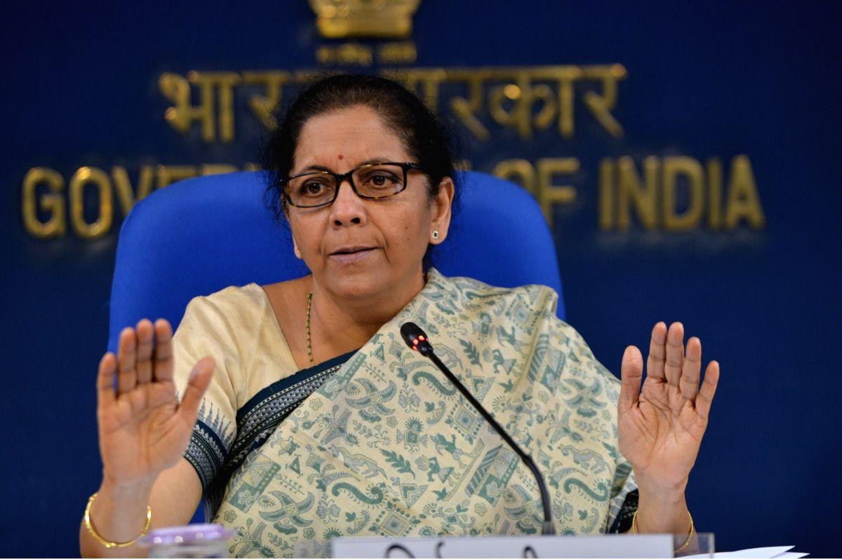 New Delhi: Union Finance Minister Nirmala Sitharaman addresses a press conference on cabinet decisions in New Delhi on Nov 6, 2019.