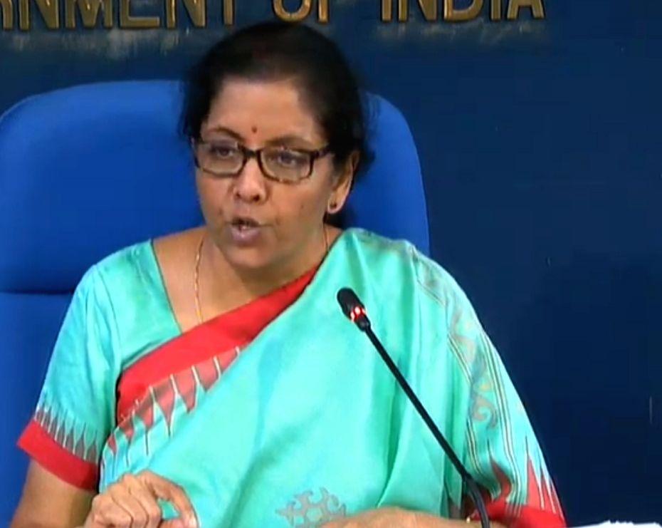 New Delhi: Union Finance Minister Nirmala Sitharaman addresses a press conference on cabinet decisions in New Delhi on Nov 20, 2019.