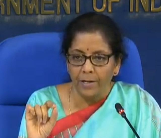 New Delhi: Union Finance Minister Nirmala Sitharaman addresses a press conference on cabinet decisions in New Delhi on Nov 20, 2019.