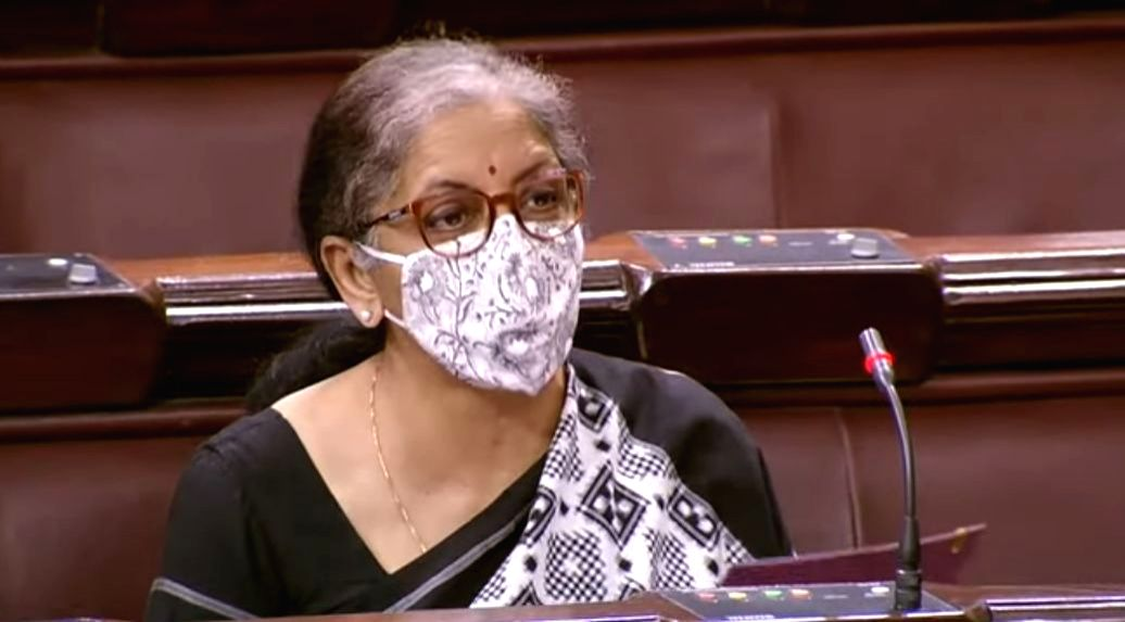 New Delhi: Union Finance Minister Nirmala Sitharaman moves Insolvency and Bankruptcy Code (2nd Amendment) Bill, 2020 for consideration in Rajya Sabha, during the Monsoon Session of Parliament in New Delhi on Sep 19, 2020. The Rajya Sabha on Saturday