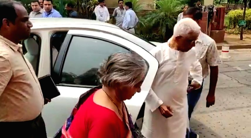 New Delhi: Union Finance Minister Nirmala Sitharaman's parents Savitri Sitharaman and Narayanan Sitharaman arrive at Parliament to witness their daughter present the Union Budget 2019 in the Lok Sabha, in New Delhi on July 5, 2019.