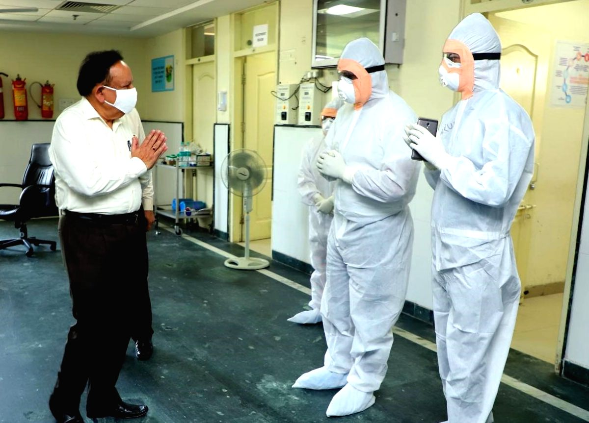 New Delhi: Union Health Minister Harsh Vardhan visits Chaudhary Brahma Prakash Ayurved Charak Sansthan, which is functioning as a COVID Care Centre (CCC), to oversee the preparedness to manage COVID-19 cases at Najafgarh in New Delhi on May 24, 2020.