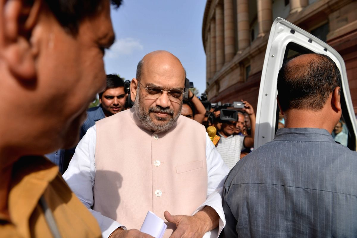 New Delhi: Union Home Minister Amit Shah arrives at Parliament, in New Delhi on June 28, 2019.