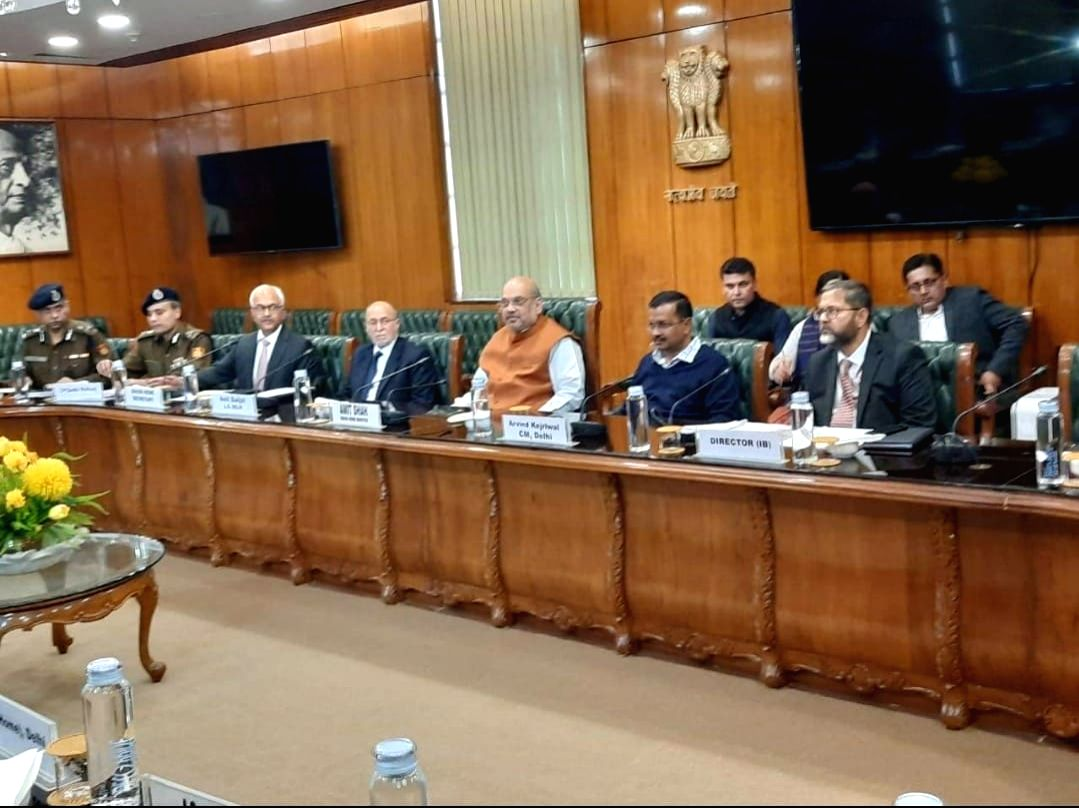New Delhi: Union Home Minister Amit Shah presides over an urgent meeting on Delhi violence, in New Delhi on Feb 25, 2020. The meeting was attended by Delhi Lieutenant Governor Anil Baijal, Chief Minister Arvind Kejriwal among others.
