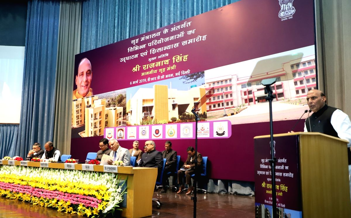 New Delhi: Union Home Minister Rajnath Singh addresses at the inauguration and foundation stone laying ceremony of the various residential and office buildings of CAPFs, CPOs and Delhi Police, in New Delhi, on March 6, 2019. Also seen Union MoS Home