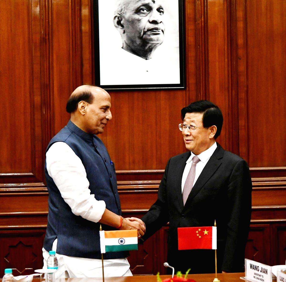 :New Delhi: Union Home Minister Rajnath Singh meets China's Public Security Minister Zhao Kezhi in New Delhi, on Oct 22, 2018. (Photo: IANS/PIB).