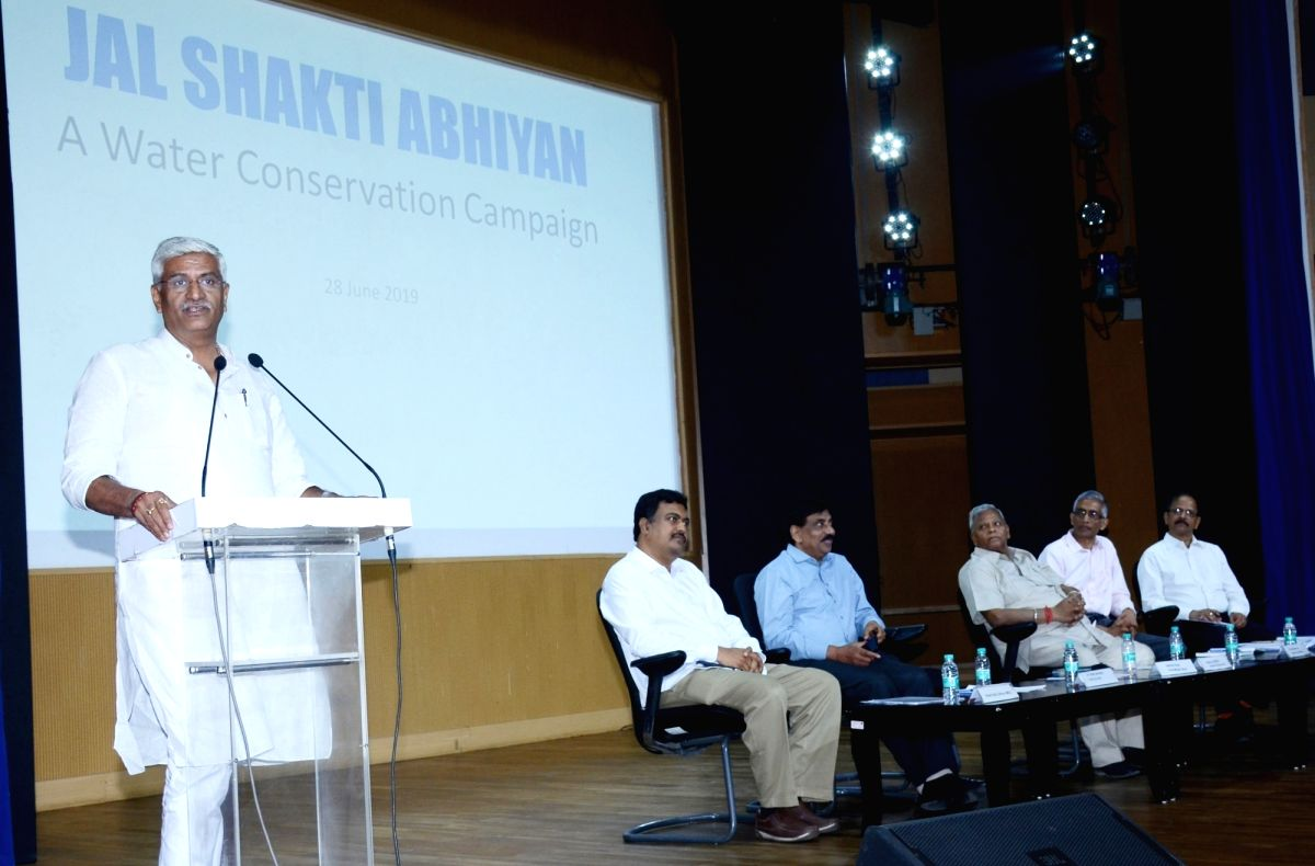 New Delhi: Union Jal Shakti Minister Gajendra Singh Shekhawat addresses at a programme on Jal Shakti Abhiyan - A Water Conservation Campaign, in New Delhi on June 28, 2019. Also seen Union MoS Jal Shakti Rattan Lal Kataria. (Photo: IANS/PIB)