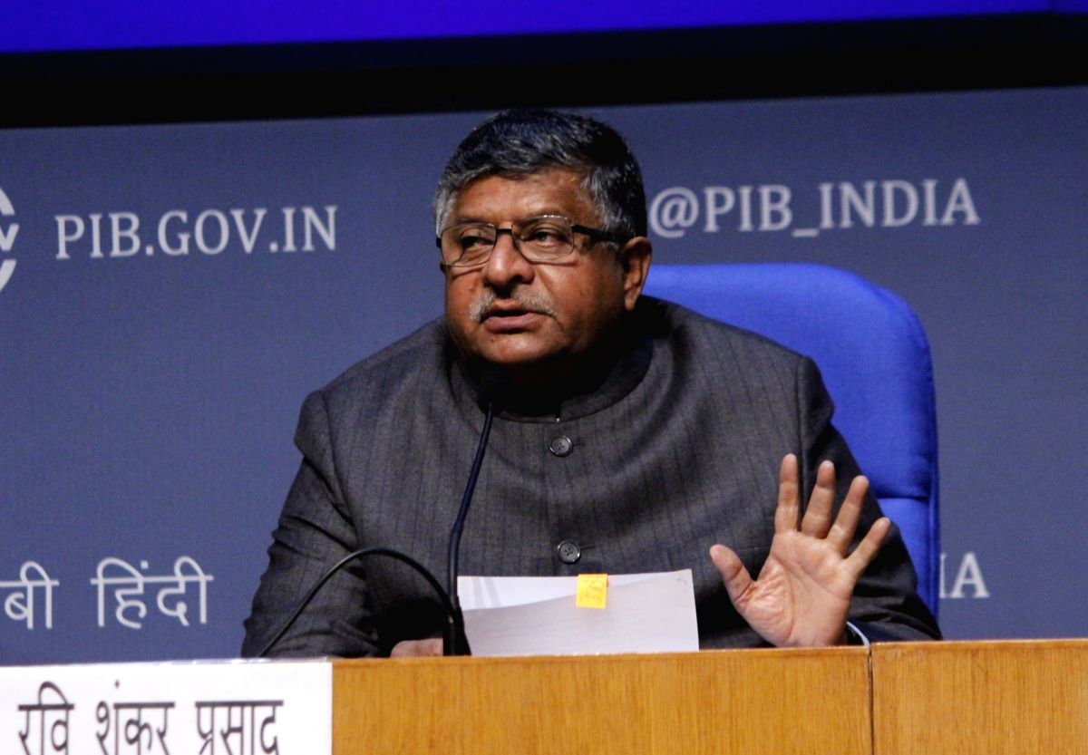 New Delhi: Union Law and Justice, Electronics and Information Technology and Communications Minister Ravi Shankar Prasad addresses a press conference, in New Delhi on Dec 16, 2020.
