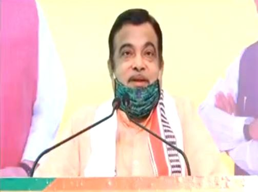 New Delhi: Union Minister and BJP leader Nitin Gadkari addresses 'Madhya Pradesh Jan Samvad Rally' via video conferencing from New Delhi on June 10, 2020.