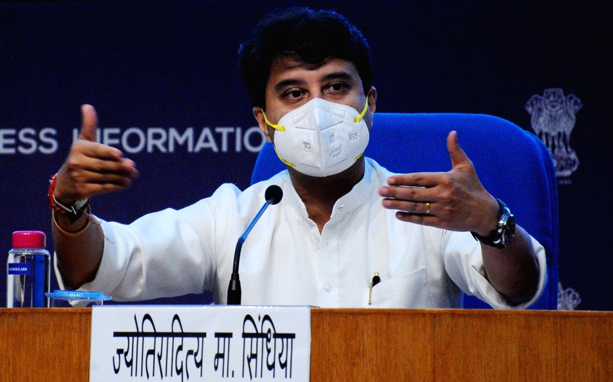 New Delhi: Union Minister for Civil Aviation Jyotiraditya M. Scindia, addressing a press conference  on the announcement of PLI scheme for Drones and Drone Components at National Media Centre, in New Delhi on Thursday, September 16, 2021. (Photo: Qam
