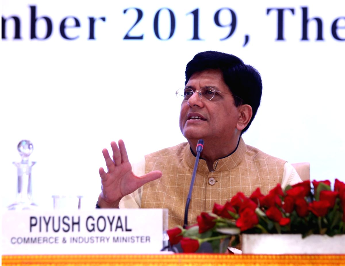 New Delhi: Union Minister for Railways and Commerce and Industry Piyush Goyal addresses at the Board of Trade Meeting, in New Delhi on Sep 12, 2019. (Photo: IANS/PIB)