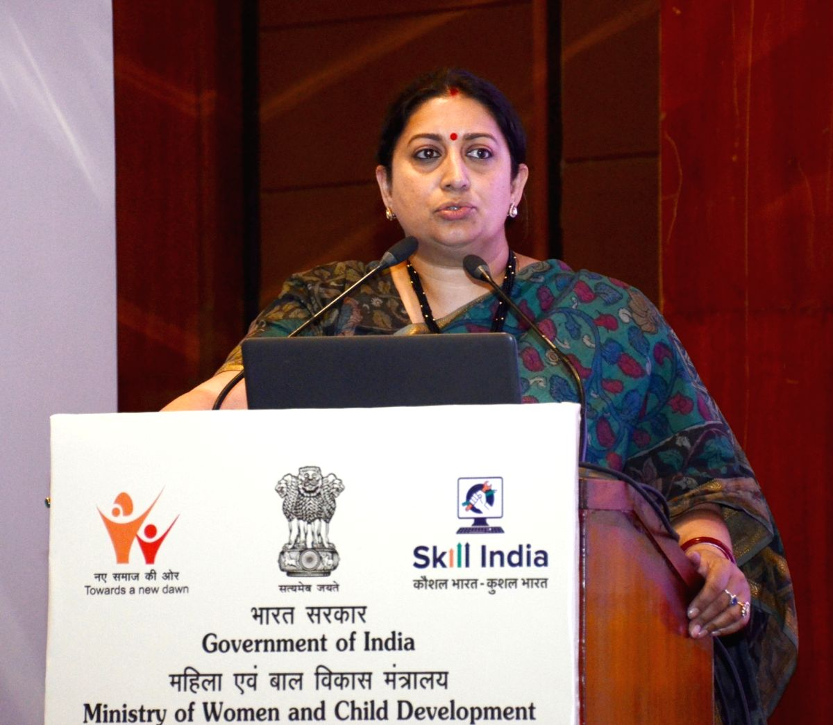 New Delhi: Union Minister for Women & Child Development and Textiles Smriti Irani addresses at the valedictory session of the National Conference on Policy Framework for Skilling of Women and Children, in New Delhi on Feb 14, 2020. (Photo: IANS/PIB)