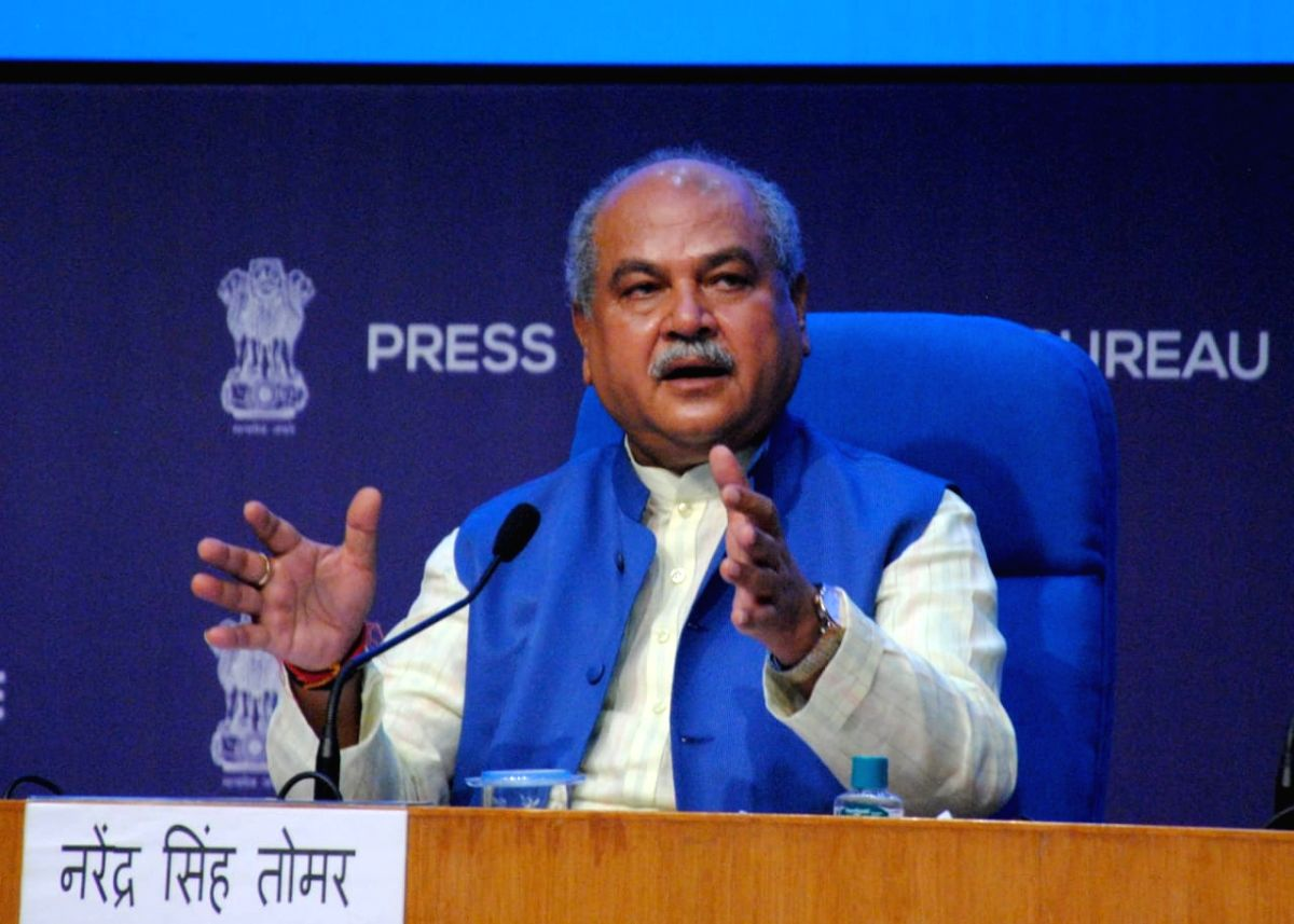 New Delhi: Union Minister Narendra Singh Tomar with Anurag Singh Thakur will brief the press on cabinet decisions at National Media Center New Delhi on Wednesday, August 18, 2021. (Photo: Qamar Sibtain/IANS)