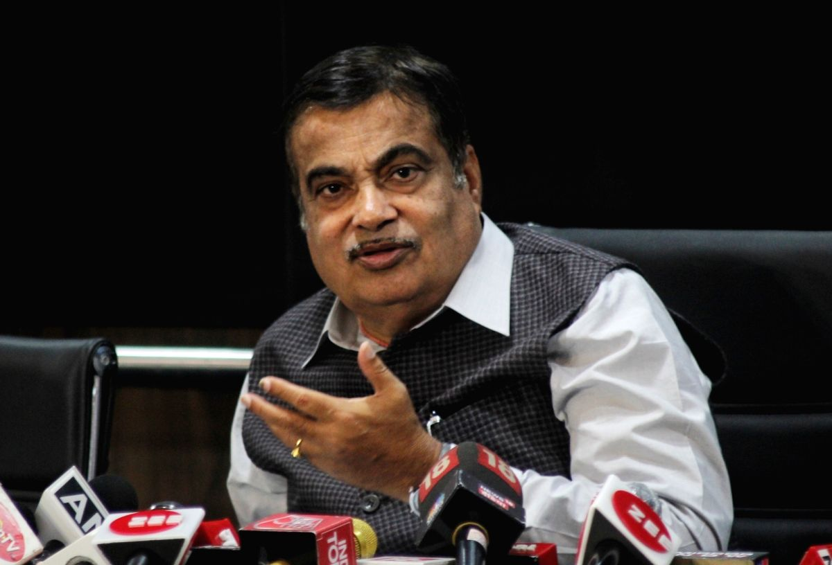 New Delhi : Union minister Nitin Gadkari address a press conference regarding on important issue of vehicle scrapage policy at Transport bhawan in new Delhi on Thursday March 18, 2021.(Photo:IANS/Wasim Sarvar)