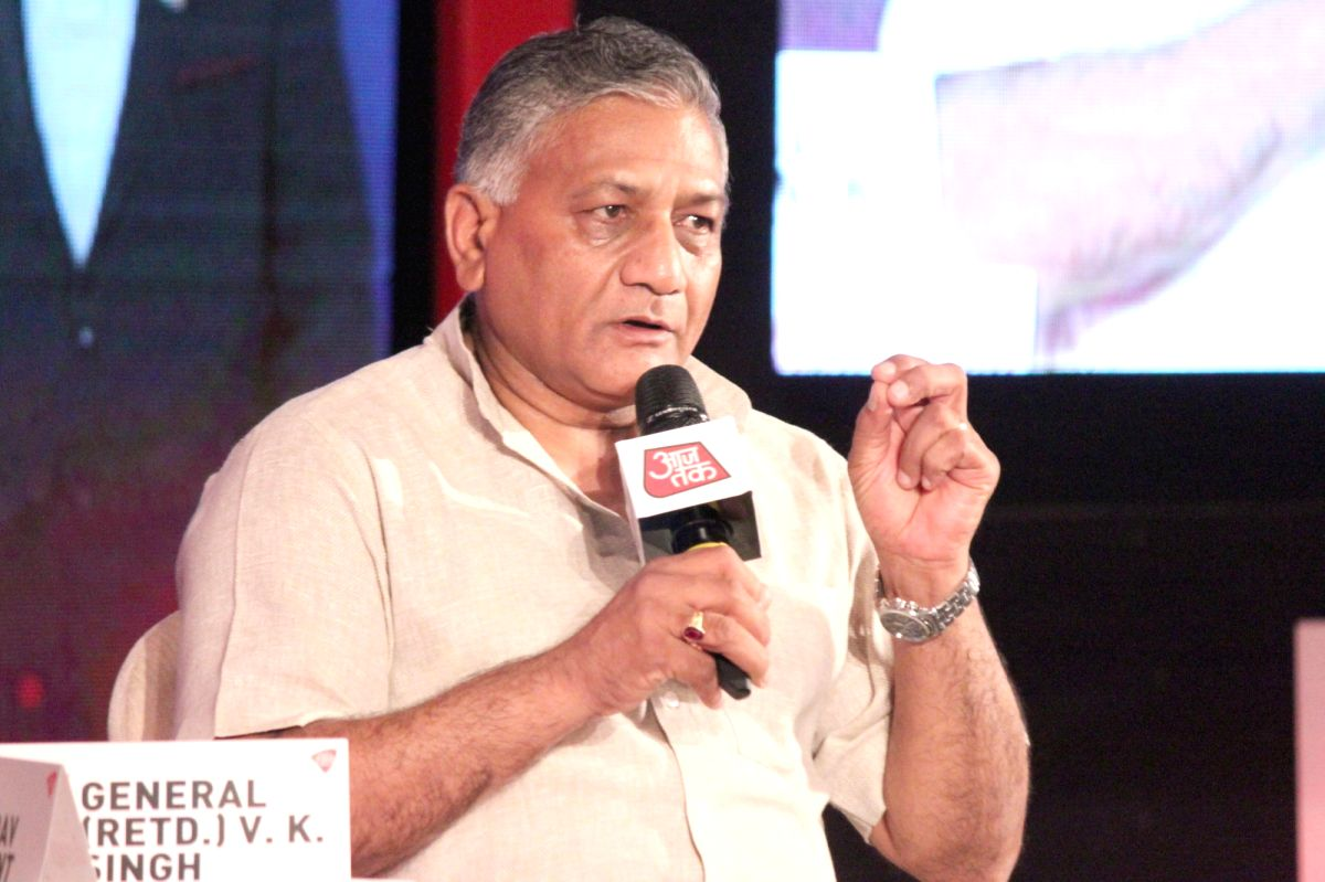 New Delhi: Union Minister of State for External Affairs, General (Retd.) V K Singh addresses at `Manthan Aaj Tak`  - a political conference in New Delhi, on May 21, 2015. (Photo: Amlan Paliwal/IANS)