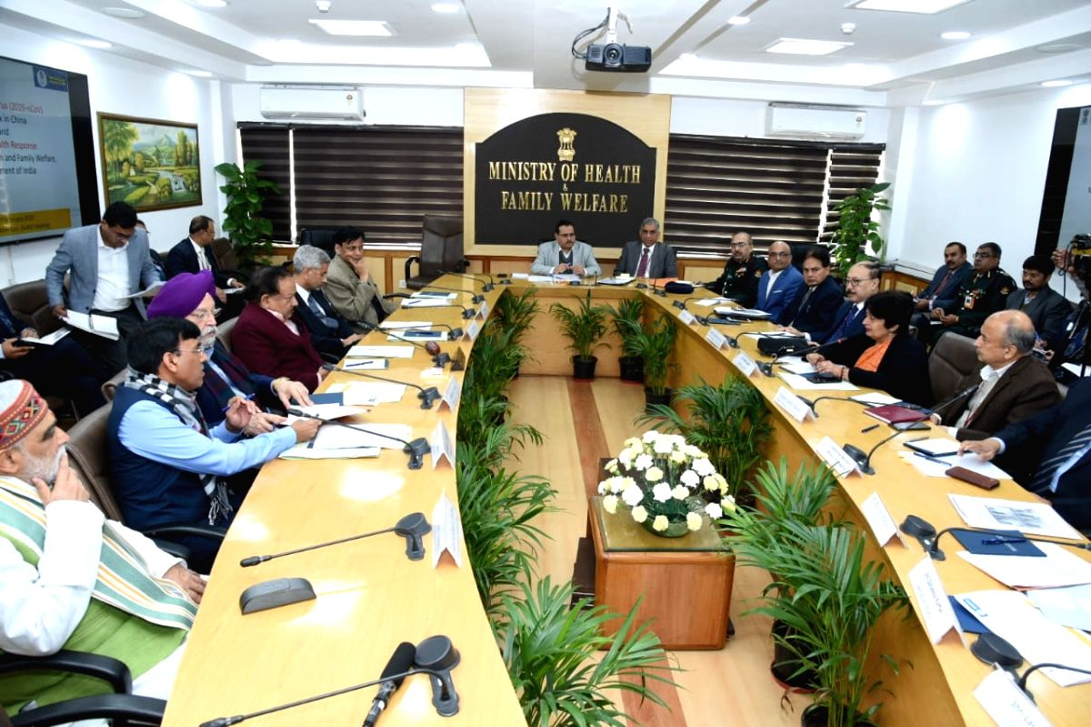 New Delhi: Union Ministers Harsh Vardhan, Hardeep Singh Puri, Ashwini Kumar Choubey and External Affairs Minister S Jaishankar during the meeting of High level Group of Ministers (GoM) to reviews current status, and actions for prevention and managem