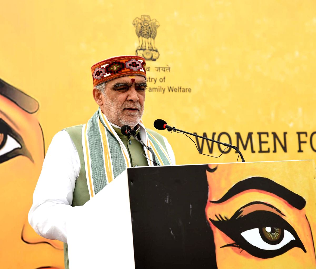 New Delhi: Union MoS Health and Family Welfare Ashwini Kumar Choubey addresses at the inauguration of a camp for screening of Anaemia, Hypertension, Diabetes, Oral cancer, BMI and counselling on nutrition for women, at Nirman Bhawan, in New Delhi on