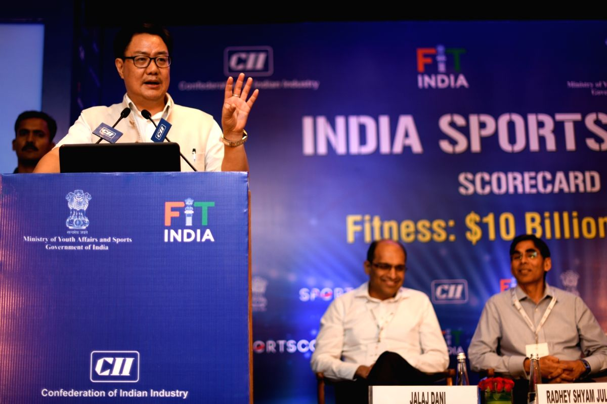 New Delhi: Union MoS Youth Affairs and Sports (Independent Charge) Kiren Rijiju addresses at the 'India Sports Summit – Fitness: $10 Billion Opportunity', in New Delhi on Oct 10, 2019.