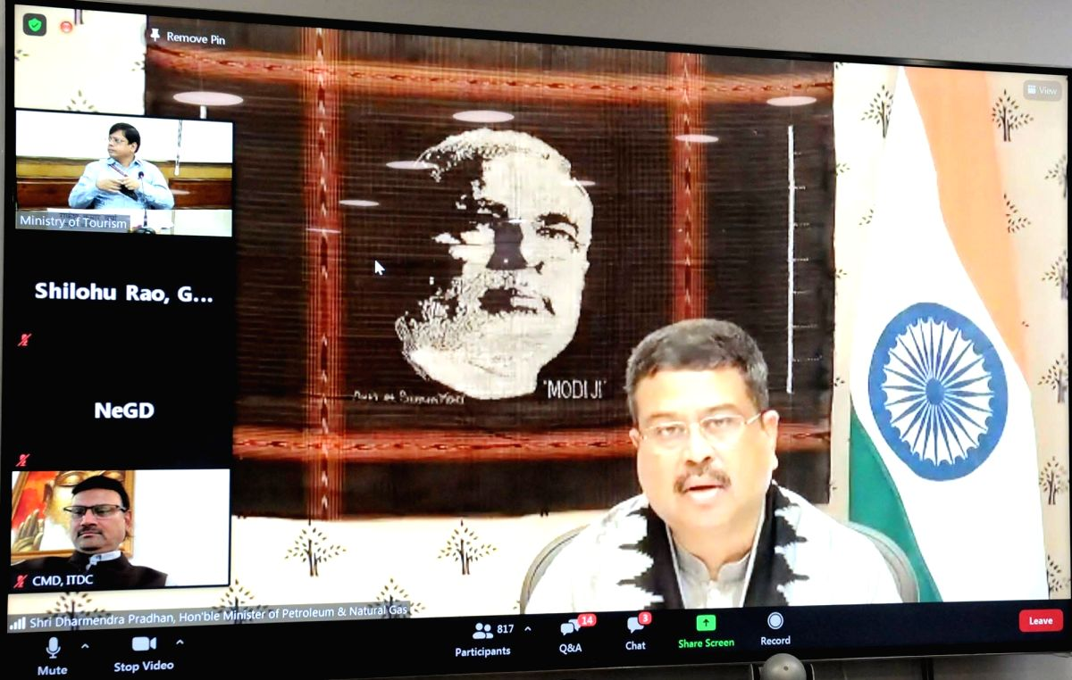 New Delhi: Union Petroleum & Natural Gas and Steel Minister Dharmendra Pradhan virtually launches 'SAATHI' application, at an event organised on the occasion of the World Tourism Day 2020 celebrations, in New Delhi on Sep 27, 2020. (Photo: IANS/PIB)