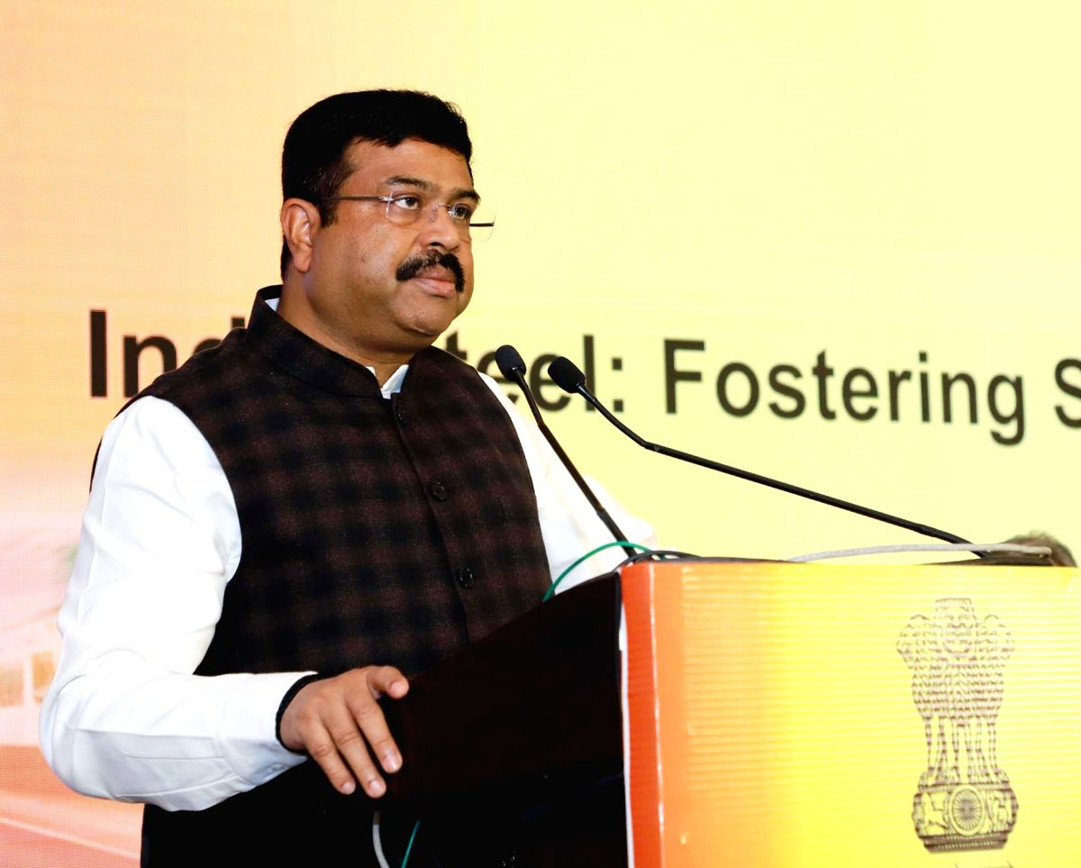 """New Delhi: Union Petroleum & Natural Gas and Steel Minister Dharmendra Pradhan addresses at the workshop on """"India Steel: Fostering Steel Usage in Railways & Defence Sectors"""", in New Delhi on Feb 17, 2020. (Photo: IANS/PIB)"""