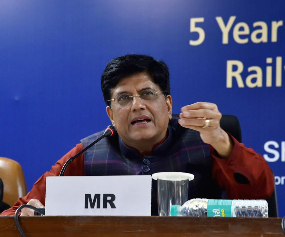 New Delhi: Union Railways and Coal Minister Piyush Goyal addresses a press conference after releasing the 5-year achievement booklet of the Ministry of Railways and Coal, in New Delhi, on March 1, 2019. (Photo: IANS/PIB)