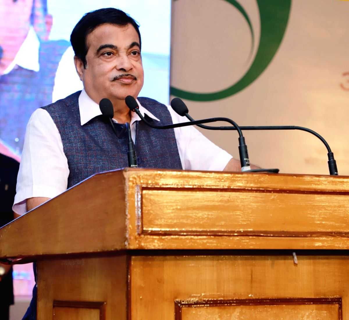 New Delhi: Union Road Transport & Highways and Micro, Small & Medium Enterprises Minister Nitin Gadkari addresses at the inauguration of the 39th edition of the India International Trade Fair (IITF) at Pragati Maidan, in New Delhi on Nov 14, 2019. (P
