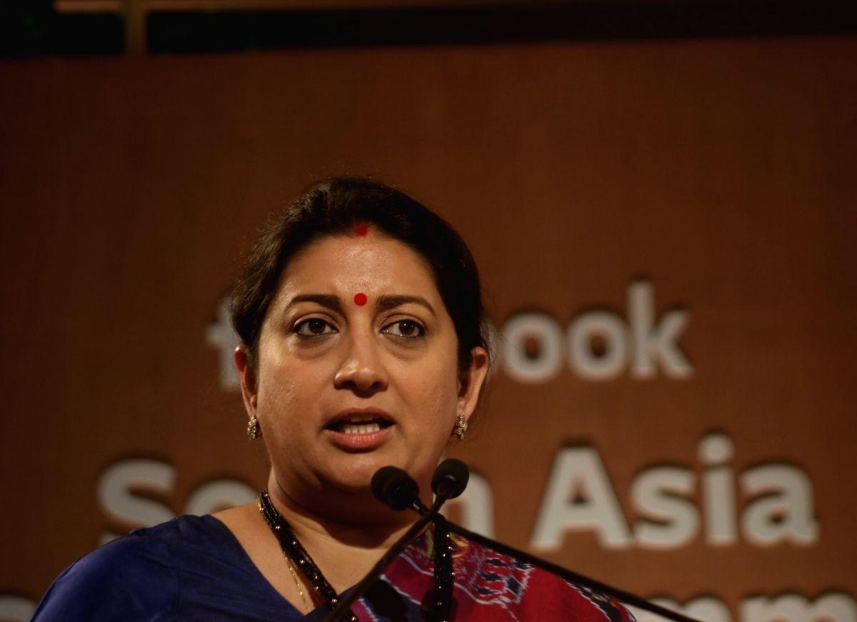 New Delhi: Union Textiles and Women and Child Development Minister Smriti Irani addresses at Facebook South Asia Safety Summit in New Delhi on Nov 19, 2019.