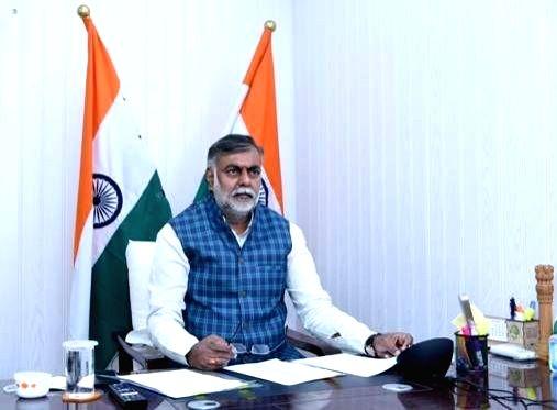 New Delhi: Union Tourism Minister Prahlad Singh Patel virtually inaugurates Tourist Facilitation Centre€ facility at Guruvayur, Kerala under PRASHAD scheme, from New Delhi on Nov 4, 2020. (Photo: IANS/PIB)