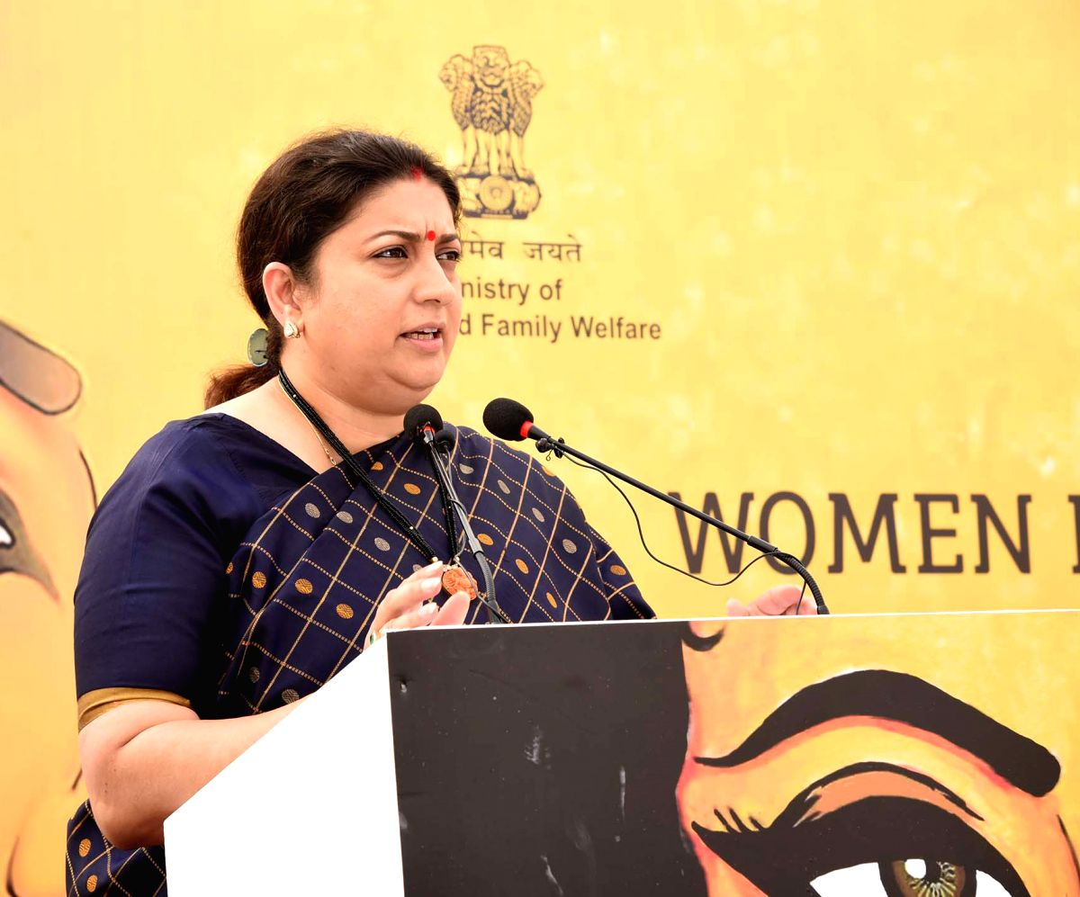 New Delhi: Union Women & Child Development and Textiles Minister Smriti Irani addresses at the inauguration of a camp for screening of Anaemia, Hypertension, Diabetes, Oral cancer, BMI and counselling on nutrition for women, at Nirman Bhawan, in New