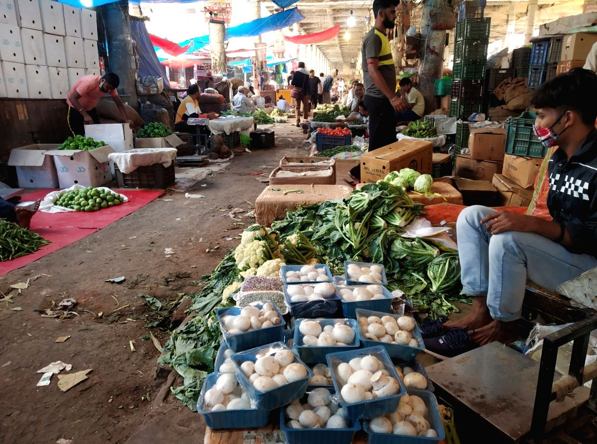 New Delhi: Vegetables being sold at Delhi's Azadpur Sabzi Mandi on Oct 12, 2020. Even as the festive season of Navratri is around the corner, the rising prices of vegetables are giving a headache to the common man. Prices of all vegetables, including