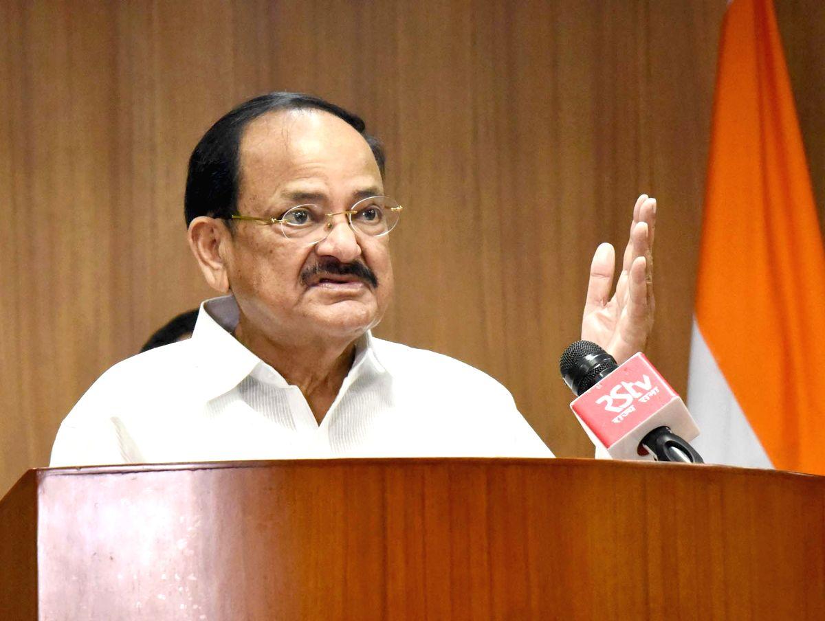 New Delhi: Vice President M. Venkaiah Naidu addresses a webinar on Acharya Vinoba Bhave's contribution to the dissemination of Gandhi Ji's philosophy for social upliftment and Bhoodan Movement, in New Delhi on Aug 27, 2020. (Photo: IANS/PIB)