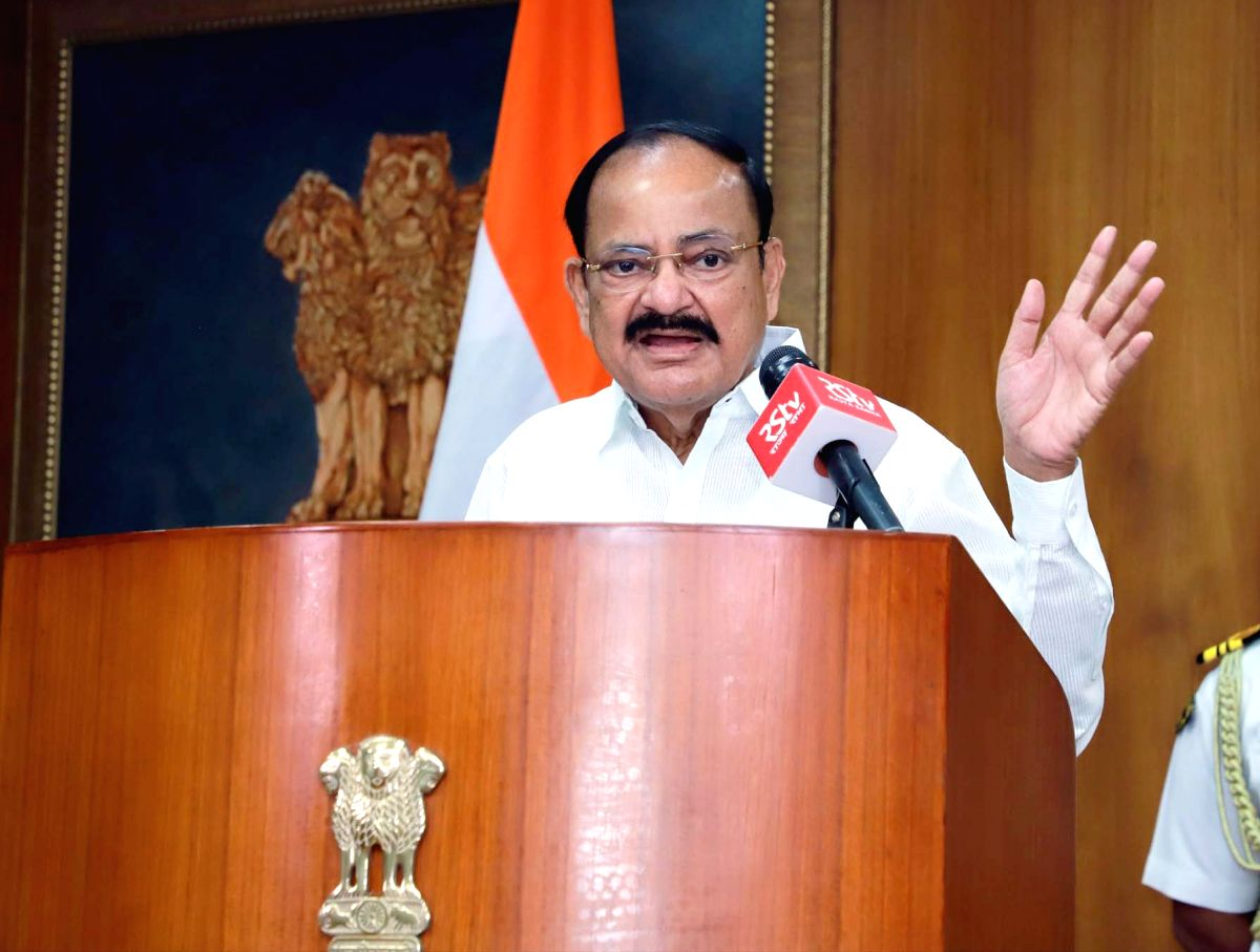 New Delhi: Vice President M. Venkaiah Naidu addresses an event organised to mark the Hindi Diwas, via video conferencing in New Delhi on Sep 14, 2020. (Photo: IANS/PIB)