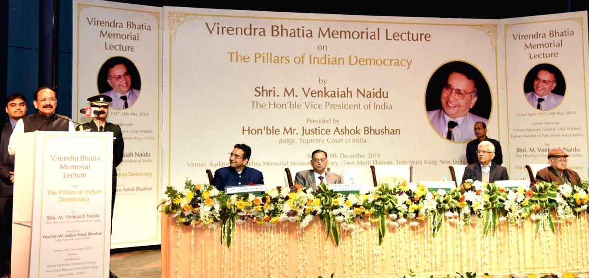 New Delhi: Vice President M. Venkaiah Naidu addresses at the Virendra Bhatia Memorial Lecture on Pillars of Democracy, in New Delhi on Dec 8, 2019. (Photo: IANS/PIB)