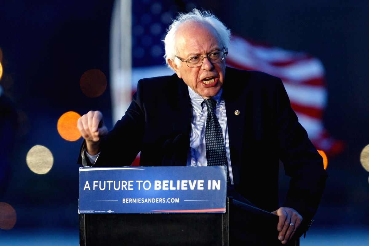 NEW YORK, April 19, 2016 - Democratic Presidential Candidate Bernie Sanders delivers a speech during a campaign rally on the eve of the New York primary, in Long Island, New York, the United States, ...