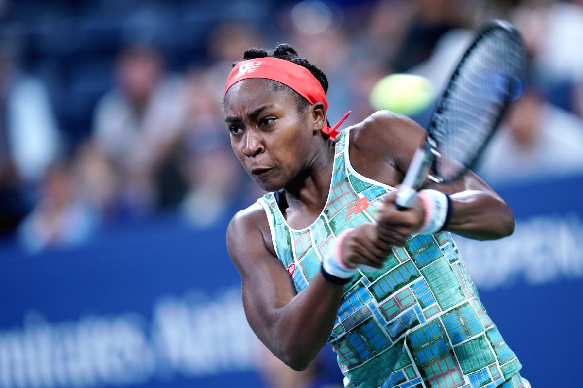 NEW YORK, Aug. 30, 2019 (Xinhua) -- Coco Gauff of the United States hits a return during the women's singles second round match between Coco Gauff of the United States and Timea Babos of Hungary at the 2019 US Open in New York, the United States, Aug