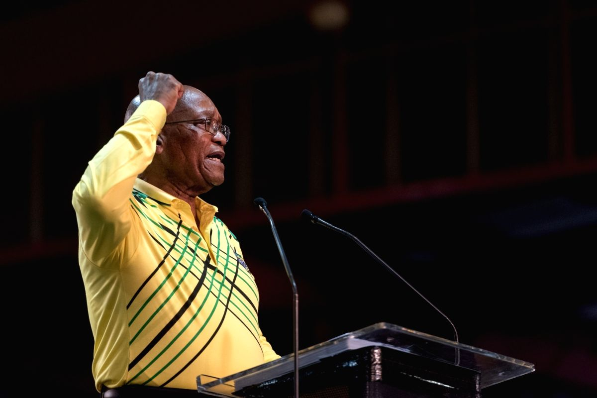 NEW YORK, Feb. 14, 2018 (Xinhua) -- File photo taken on Dec. 16, 2017 shows that South African President Jacob Zuma addresses the conference in Johannesburg, South Africa. South African President Jacob Zuma declared his resignation when addressing th