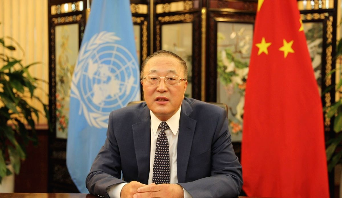 """NEW YORK, July 10, 2020 (Xinhua) -- Zhang Jun, China's permanent representative to the United Nations, speaks at the meeting on """"Member States' Counter-Terrorism Priorities in the Post COVID-19 Environment"""" during the Virtual Counter-Terrorism Week,"""