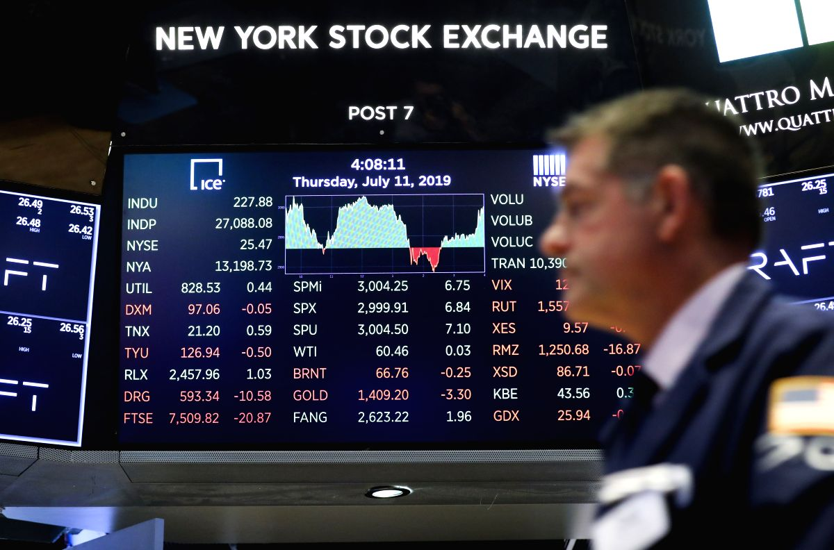 NEW YORK, July 12, 2019 (Xinhua) -- Electronic screen shows the closing numbers at the New York Stock Exchange in New York, the United States, July 11, 2019. U.S. stocks ended mixed on Thursday, as investors digested a batch of key data. The market a