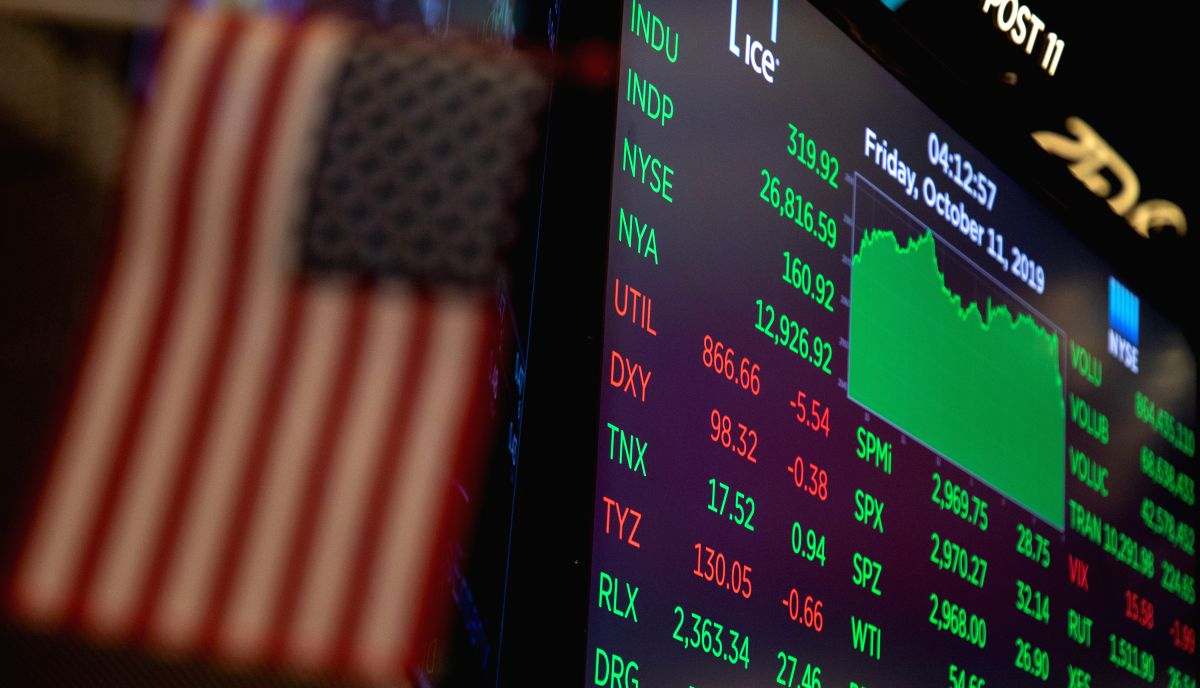 NEW YORK, Oct. 11, 2019 (Xinhua) -- An electronic screen shows the trading data at the New York Stock Exchange in New York, the United States, on Oct. 11, 2019. U.S. stocks rallied on Friday. The Dow closed up 1.21 percent to 26,816.59, the S&P 500 r