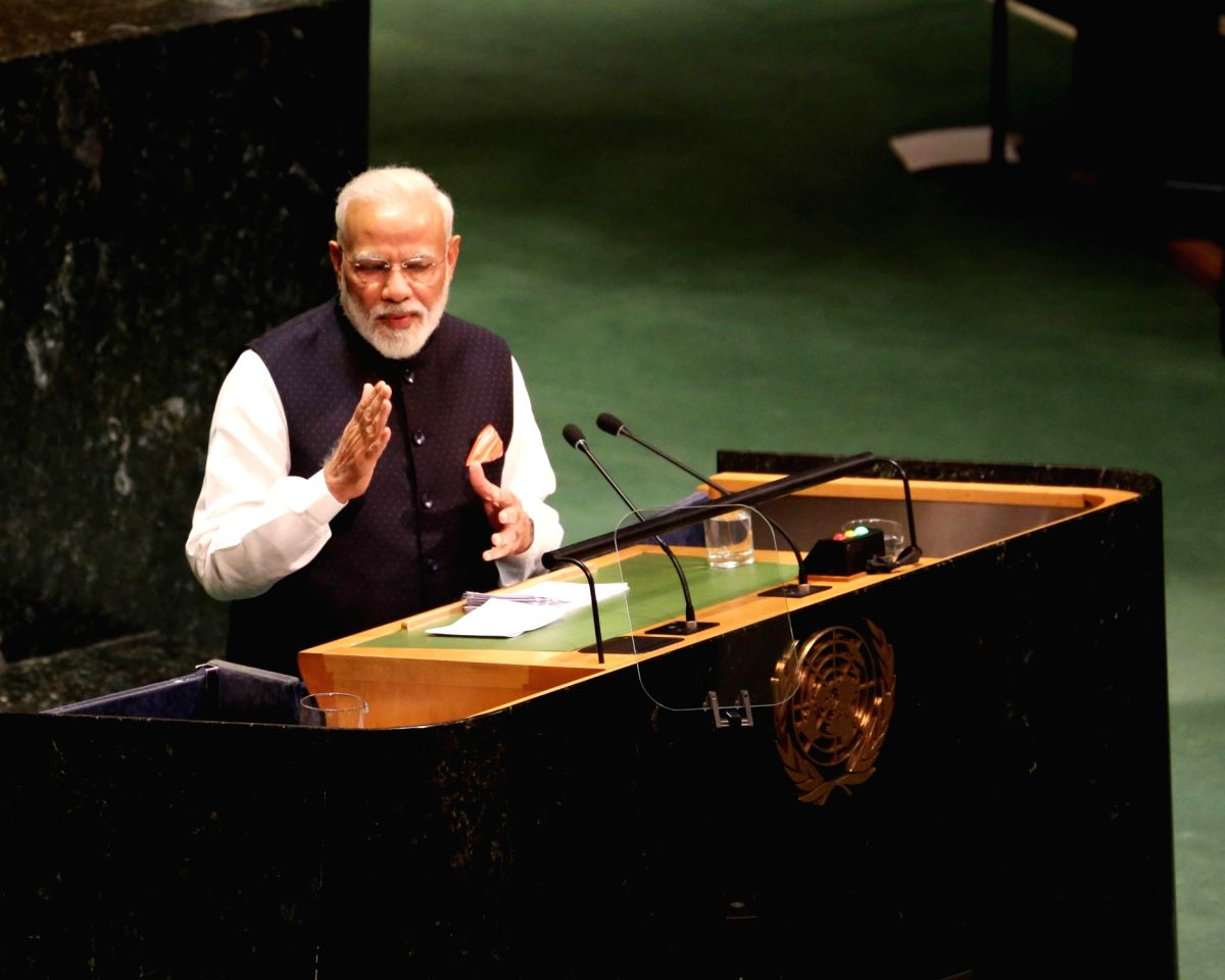 New York: Prime Minister Narendra Modi addresses at the 74th United Nations General Assembly (UNGA), in New York on Sep 27, 2019. (Photo: Mohammed Jaffer/IANS)